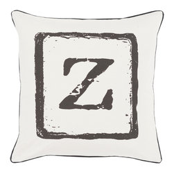 """Surya - Surya BKB-033 Pillow, 18"""" x 18"""", Poly Fiber Filler - Add a personal stamp to your space with the inclusion of this utterly perfect pillow. Hand made in India of 100% cotton, the boldly printed initial in smooth coloring effortlessly permits for a private touch while simultaneously embodying divine design from room to room within any home decor."""