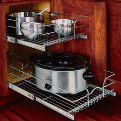 Home Decorators Collection - Rev-A-Shelf Two-Tier Chrome Wire Baskets - The Two-Tier Chrome Wire Baskets from Rev-A-Shelf are ideal for organizing your appliances and accessories. Two levels of storage operate independently for easy access. Heavy-gauge wire construction with chrome finish. Two tiers operate independently. Bottom, side and rear mounting for total stability. Optional door mount kit available. Limited lifetime warranty.