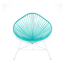 Baby Acapulco Chair, White Frame With Turquoise Weave - The classic avocado shape of this chair — known as the Acapulco — is a great design for indoor or outdoor use. The smaller woven vinyl seat is perfect for children or adults, and the white steel base is sturdy and resistant to rust. This is a great solution for your backyard this summer. You just have to pick your favorite color for the seat!