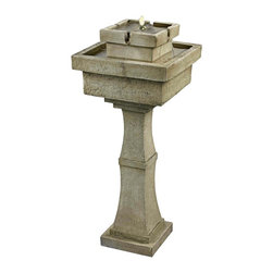 """Kenroy Home - Cadet Solar Powered Remote Control Fountain - The Cadet decorative fountain is solar powered and can be operated at the touch of a remote control. It features a built-in LED light for nighttime illumination and includes the water pump. In a sandstone finish. From the Kenroy Home fountain collection. With 2 remote controls. 34"""" high. 14"""" wide.  Cadet garden fountain.  Solar powered.  Remote controlled.  Built-in LED light.  Pump included.  Sandstone finish  34"""" high.   14"""" wide."""