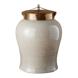 Kathy Kuo Home - White Crackle Blossom Asian Porcelain Bronze Lidded Tea Jar - Large - Design your dynasty with this Asian tea jar. A white crackle finish overrules the porcelain, but the true power lies in lifting the bronze lid to reveal and read the tea leaves within. A gorgeous home is in your future.