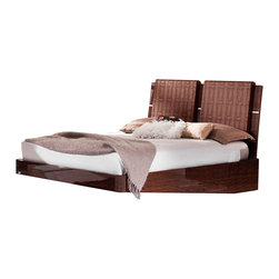 ESF Furniture - Status Caprice Walnut Bed w/Wooden Slats Frame - ESF Furniture, King - This charming Status Caprice Walnut Bed w/Wooden Slats Frame brings the modern crisp look and feel with classy artificial crocodile skin accents. Finished in a high gloss Walnut.