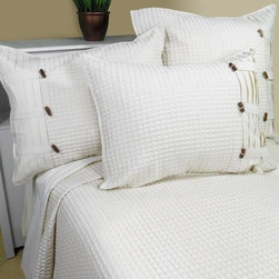 Home Decorators Collection - Escondido Coverlet and Sham - Our Escondido Coverlet and Sham's crisp ivory color and black accents is noticeably beautiful. Simple white can make a bold statement. Introduce to a casual, neutral bedroom or a bedroom with brightly-colored walls. Purchase coverlet or sham to coordinate with existing bedding, or purchase together for a coordinated look. Made of 100% cotton. Coverlet is available for full, queen or king beds. Sham is available in two sizes. Coverlet and sham are sold separately.