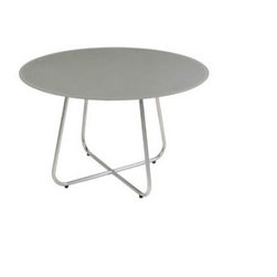 "Mama Green - Gemmy Dining Table, Taupe, 120"" - The Gemmy dining series combines an interwoven rounded base with varying sizes in round tops. Frames can be done in stainless steel or powder coated aluminum and table tops can be done in acid etched colored glass or FSC certified reclaimed teak."