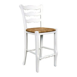 The Ivory Company - Ivory Signature Design  Provence Ladder Back Bar Stool - Coming from the Shaker community, the form of ladderback chairs reflect an adherence to quality, lightness, and a desire to keep the home free from unnecessary clutter. Originally, ladderbacks were designed to be hung on the wall! A perfect complement to our ladderback sidechairs, these ladderback counterstools are designed to sit at the right height for most kitchen counters. Buy both! Measures: 41x19.5x19