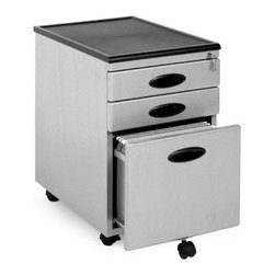 Power Center Mobile 3-Drawer Vertical Filing Cabinet - Get down to business with the Power Center Mobile 3-Drawer Vertical Filing Cabinet! It is a metal mobile file cabinet that has two box drawers and one deep file drawer. Oval inset handles make opening the drawers easy. Five caster wheels keep this cabinet mobile and stable. Two of the casters lock. The filing cabinet is also able to be locked to make sure your important files and papers stay private. A molded plastic top is strong and durable for storage or display. Bottom drawer measurement: 12.5W x 17D x 9.75HTop drawer measurements: 12.5W x 17D x 2.25H