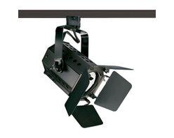 Juno Lighting - T295 Theatrical PAR20 Trac Master Line Voltage Lamp Holder - T295 Theatrical PAR20 Trac Master Line Voltage Lamp Holder designed for applications requiring controlled light, higher intensities and wattages. Finish in Black with Black barn doors. 90 degree vertical aiming capability and 358 degree rotation with one locking knob provided. Medium base porcelain socket. One 35-50 watt 120 volt PAR20 halogen lamp not included. On-off switch included. For use with Trac Master 1-circuit and 2-circuit track. Features pull up contact to up position for two circuit applications. UL listed.