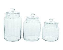 Benzara - Simple Glass Container Jar Set For The Kitchen - With all the jar options out there, we want one that is simple enough to enjoy the contents inside the container. This is the perfect set for any kitchen: crystal clear so you can see when you're running low. But they're also useful in the home office to keep pens and other supplies, or for storing arts and crafts items for the kids.