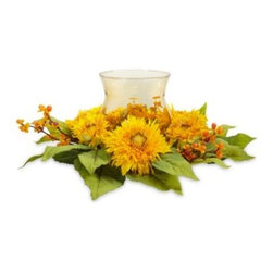 Nearly Natural - Nearly Natural Golden Sunflower Candelabrum Silk Flower Arrangement - Exuding warmth and cheerfulness, especially bright sunflowers encircle a beautiful glass candleholder for a dramatic centerpiece or tabletop decoration. For added effect, experiment with different colored candles.