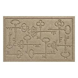 Bungalow Flooring - Aqua Shield 2'x3' Keys to the City Doormat, Camel - Premium 24-oz. anti-static polypropylene mat traps dirt, water and mud.