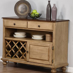 Sunset Trading - 47.5 in. Eco-Friendly Server - Sturdy quality craftsmanship. Warranty: One year. Made from solid handcrafted hardwood and eco-friendly Malaysian parawood. Pecan and wheat finish. Made in Malaysia. Assembly required. 47.5 in. W x 17 in. D x 37 in. H (115 lbs.)This beautifully designed server supplied by Sunset Trading will assure you many years of use and enjoyment. Warm tones ignite the look of the Brookdale collection.