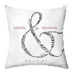 Entwined Personalized Throw Pillow - The Entwined Personalized Throw Pillow tells a contemporary romance story. A charming gift for the newlyweds, this pillow features an ornate ampersand and customized with their names and date. The white, black, and pink design, plush cotton and polyester blend fill, and coordinating pattern on the reverse ensure this gift will be one of their favorites.