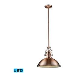 Elk Lighting - Elk Lighting 66148-1-LED Chadwick Transitional Pendant Light in Antique Copper - Elk Lighting 66148-1-LED Chadwick Transitional Pendant Light In Antique Copper