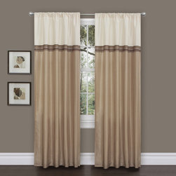 Lush Decor - Lush Decor Terra Beige/ Ivory 84-inch Curtain Panels (Set of 2) - Dress your window in faux-silk elegance with this two-piece set of Lush Decor 84-inch curtain panels. The contrasting color-blocked design gives these beautiful one-piece panels the appearance of a two-piece curtain and valance set.