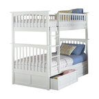 Atlantic Furniture - Atlantic Furniture Columbia Twin over Twin Bunk Bed-White - Atlantic Furniture - Bunk Beds - AB55102 - The Atlantic Furniture Columbia Twin over Twin Bunk Bed has a clean modern look with subtle Mission styling. The simple lines of the head and foot boards have the square posts and slats characteristic of this design. This versatile bunk bed is available in a number of options that is sure to please both you and your child.
