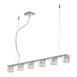 ET2 Lighting - ET2 Lighting E22034-18 Blocs Polished Chrome Island Light - 6 Bulbs, Bulb Type: 40 Watt G9 Frost Xenon
