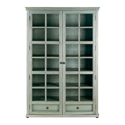 Marion Library Cabinet - An exquisite vintage gray finished cabinet ideal for storing your favorite literary masterpieces. A noteworthy addition to any living room or home office, the Marion Library Cabinet is paneled with glass windows for a full view of its contents.