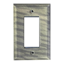 Jewel tone glass decora plate deep opal - Beveled glass single decora switch plate in slate gray green  paint finish is available in multiple configurations and colors. A perfect accent for glass tiles and back splashes in kitchens and baths, glass plates are also available in custom colors.