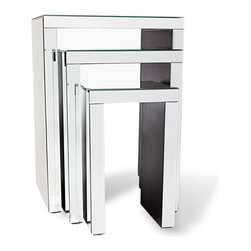 Zuri Furniture - Celeste Mirrored Glass Nesting End Tables - Sleek sophistication and sharp angular lines are the focal points of the Celeste Mirrored Nesting Tables. This set of three is crafted from stainless steel and a mirrored finish, and thoughtfully designed with versatility in mind. Arrange a grouping or position separately to create an entirely customized space to create a fabulous living space.
