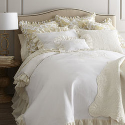 "Pine Cone Hill - Pine Cone Hill Standard Rousseau Quilted Sham - Make it a ""vintage"" year with classic white bed linens from Pom Pom at Home. White linen ""Celeste"" duvet covers and shams are enhanced with deep 4"" ruffles and delicate scroll embroidery in ivory. Coordinating linen voile dust skirts have an 18""drop..."