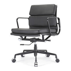 Meelano - M342 Eames Style Soft Pad Office Chair All Black Everything in Leather - The Soft Pad chair makes short work of your long days. This is form meets function with a lot of comfort thrown in. It's designed to make your workday more comfortable while its modern, cutting edge design makes you look good.
