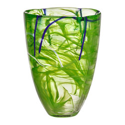 Kosta Boda - Contrast Vase, Lime - Designed by Anna Ehrner. With hand-applied decoration of swirls of contrasting calligraphic lines, each Contrast piece is a unique work of art which can be used everyday and or highlight the holidays. The pure forms are crystal arenas for the drama of free-flowing patterns that bring out the inner nature of the glass. Pure shape bears up the patterns that bring out the inner nature of the glass, making every piece unique.  These dramatic pieces work into any interior design scheme. functionally or purely for display and will be prized as a gift.