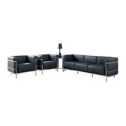 """LexMod - Charles Grande 4 Piece Sofa Set in Black - Charles Grande 4 Piece Sofa Set in Black - Urban life has always a quandary for designers. While the torrent of external stimuli surrounds, the designer is vested with the task of introducing calm to the scene. From out of the surging wave of progress, the most talented can fashion a forcefield of tranquility. Perhaps the most telling aspect of the Charles series is how it painted the future world of progress. The coming technological era, like the externalized tubular steel frame, was intended to support and assist human endeavor. While the aesthetic rationalism of the padded leather seats foretold a period that would try to make sense of this growth. The result is an iconic sofa series that became the first to develop a new plan for modern living. If previous generations were interested in leaving the countryside for the cities, today it is very much the opposite. If given the choice, the younger generations would rather live freely while firmly seated in the clamorous heart of urbanism. The Charles series is the preferred choice for reception areas, living rooms, hotels, resorts, restaurants and other lounge spaces. Set Includes: One - Eileen Gray Side Table One - Le Corbusier LC3 Sofa Two - Le Corbusier LC3 Armchairs Chair and Sofa: Leather Upholstery, Stainless Steel Frame, Multi-Density Foam, Table: Chrome Frame, Tempered Glass, Adjustable Height Overall Chair Dimensions: 35""""L x 26""""W x 27.5""""H Chair Seat Dimensions: 21""""L x 23.5""""W x 16.5""""H Chair Arm Height: 27.5""""H Chair Seatback Height: 12""""H Overall Sofa Dimensions: 82.5""""L x 2""""W x 27.5""""H Sofa Seat Dimensions: 20.5""""L x 17""""H Overall Table Dimensions: 24""""L x 21.5""""W x 21.5""""H Table Top Height: 21.5 - 28.5""""H - Mid Century Modern Furniture."""