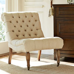 Carolyn Tufted Slipper Chair, Linen Oatmeal - This light linen has a classic feminine look, especially with all the detail in the curved back. Plus, the seat comes up a bit in front for a comfy fit.