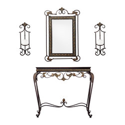 SEI - Capshaw Console/Mirror/Sconce Pair, 4 Piece Set - Complete your home with this elegantly coordinated set. This console table and corresponding accents offer classic beauty and enrich any room with purpose. Matching console table, mirror, and sconce pair will furnish any entryway or living room with a complete look. The set features an aged bronze patina finish, and the table surface is accented by an antique walnut finish. Sturdy steel construction will offer timeless beauty to your home. With an aged finish and beautiful scrollwork, this set is an attractive and enjoyable addition to the hall, entryway, or living room. The floral style is contemporary yet modest enough for those with traditional or transitional decor.