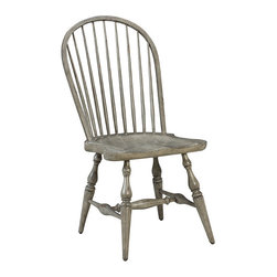 Frontgate - Morlaine Side Chair - Classic Windsor chair styling. Carved saddle seat offer ultimate comfort. Ash wood with a slate grey finish. Also available as an arm chair. Coordinates with other items from our French Heritage Country Home Collection. This is the type of chair that's seen plenty of hours and laughs sitting around a large wood table, with an open window nearby. Our Morlaine Side Chair features the traditional elements of the Windsor chair - including the comfortable carved saddle seat - but updates the laid-back attitude with a sophisticated slate grey finish.  .  .  .  .  .
