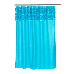 """""""Jasmine"""" Fabric Shower Curtain in Cyan Blue - """"Jasmine"""" cut leaves fabric shower curtain, 100% polyester with metal grommets, size 70""""x72"""", color cyan blue. Our """"Jasmine"""" Shower Curtain's unique Leaf-textured border will leave your bathroom livlier and more elegant than ever. This standard-sized (70'' wide x 72'' long) curtain is 100% polyester, machine washable and water resistant. Additionally, rust-proof metal grommets lining the top of this curtain help prevent tearing. Here in Cyan Blue, """"Jasmine"""" is available in a variety of stylish colors.  Machine wash in warm water, tumble dry, low, light iron as needed"""