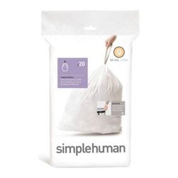 Simplehuman - simplehuman 20-Pack Code Q Custom Fit 50-Liter Can Liners - Get the perfect fitting bag liner for your rectangular trash can. Durable liners feature carrying handles for convenience and are easy to insert.
