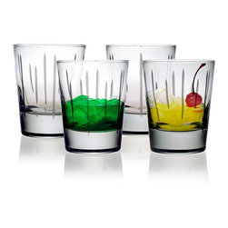 None - Ribbons Double Old Fashioned Glasses (Set of 4) - Serve any favorite beverage in these old fashioned tumbler glasses to make the moment feel even more exceptional. The heavy base and classic ribbon design offer a sturdy and fashionable addition to your everyday table, as well as for special occasions.