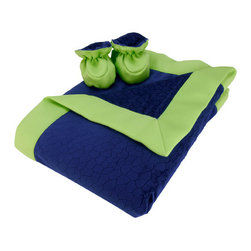 """Trend Lab - Navy Blue And Chartreuse Green Mosaic Burnout Velour Blanket And Booties - Wrap your bundle of joy in soft luxury with Trend Lab's Navy Blue Mosaic Burnout Velour With Chartreuse Green Matte Satin Framed Receiving Blanket and Reversible Baby Bootie Luxe Gift Set. Blanket features two luscious layers of navy blue mosaic burnout velour surrounded by a silky chartreuse green matte satin frame so you may cuddle your baby in warmth and touchable softness. Booties feature ultra warm mosaic velour on one side and smooth matte satin on the other making these booties perfectly reversible. The cuddly navy blue mosaic velour provides warmth and softness, while silky chartreuse green matte satin adds a touch of luxury. Pamper your little one with this high-fashion blanket and bootie gift set. Blanket measures 30"""" x 40"""". Booties are size 0-6 Months."""
