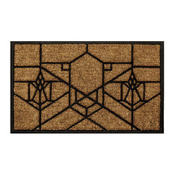 Frank Lloyd Wright Collection - Frank Lloyd Wright Bradley House Doormat - The Frank Lloyd Wright Bradley House Design Doormat is based on the B. Harley Bradley House, Kankakee, Illinois, (1904). This doormat is constructed in coir fiber pressed into a natural rubber base. The generous proportions of this mat are 36 inches by 22 inches.