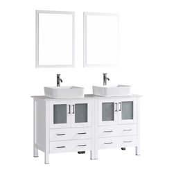 "Bosconi - 60"" Bosconi AB230RC Double Vanity, White - Indulge the aesthetic principal with this stunning and spacious 60"" glossy white Bosconi double vanity set. The ceramic, rectangular vessel sinks and perfectly coordinating mirrors lend to a polished and efficient design. Features include two spacious cabinets with soft closing doors, as well as, two large pull out drawers. Plenty of space to accommodate towels, toiletries and bathroom accessories."