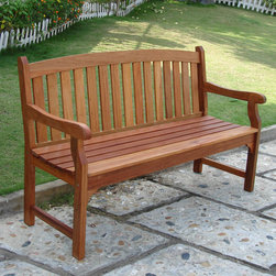 "Vifah - Outdoor Wood Bench - Design: The Outdoor Wood Bench will bring comfortable and durable seating to your garden or landscape. Crafted from FSC High Density Eucalyptus (Shorea), this outdoor bench can withstand the trials of sun and rain as it sits on your porch or patio. The seat consists of three sections of contoured slats. The backrest has a dignified style with its decorative cut-out design. The uniquely curved and carved armrests capture your attention and keep you comfortable as you relax in the beauty of the outdoors. Material: High Density Eucalyptus (or also known as Shorea in our line) is the premium grade of solid Eucalyptus Gradis hardwood, grown in 100 % well managed forests in Brazil, certified by the FSC (Forest Stewardship Council). There is little difference between High Density Eucalyptus (Shorea) and Teak when broken down to their core essence. The biggest attribute of High Density Eucalyptus (Shorea) is undoubtedly the strength of the timber. Its renowned for its excellent resistance to every day wear and tear. It is extremely durable and tightly grained to produce a desirable density. It remains unaffected by all variations in weather, especially its resistance to damp conditions makes itself extremely competent at combating insect attacks and decay. Features: Wooden bench is expertly kiln-dried and extremely durable for outdoor/indoor use. FSC High Density Eucalyptus (Shorea) is mold, mildew, fungi, termites, rot and decay-resistant. FSC High Density Eucalyptus (Shorea) is also environmentally-friendly and harvested from protected forests. Dimensions: Length: 60""; Width: 23.2""; Height: 35.4"""