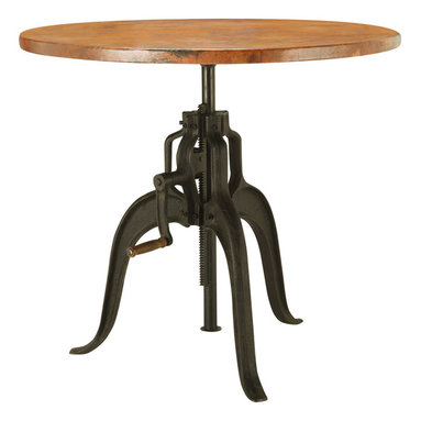 Edison Bistro Table - Working gears, moving parts and a functioning crank are a few aesthetics of the 19th century's industrial movement that have spilled over into our Edison Dining Table. An antique black wax finish is applied to a solid iron base equipped with wooden handle to lower the tabletop for a quaint dinner for two or raise it to bar height for a cocktail party. Three gently curved legs support the tabletop, which is one of our trademark copper pieces. Made of 100% recycled copper, the table takes on a natural fiery red and orange patina.