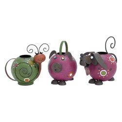 """Benzara - Watering Pot Beautiful Animal Shaped Cans - Set of 3 - Perfectly decorate your garden, patio or any outdoor space with this beautiful metal owl. Aesthetically designed, this metal owl bird is G��the' garden ornament for those who want to decorate their garden and make a style statement! The beauty of the white ornate floral motifs is heightened by the slate gray background, making this piece irresistible. With the finest attention given to each and every detail, this metal bird is great for customizing your outdoor space. The crown adorning the head makes this piece quite unique. Besides beautifying your outdoor space, you can also use this fully balanced bird for decorating your home or desk and enhance the beauty of your interiors. This attractive bird goes well with almost all types of garden themes. Made of metal, it is capable of withstanding the wear and tear resulting from long time use..; These unique metal watering cans are animal shaped that add to their charm; Vibrantly colored, these cans are a perfect fusion of practicality and good looks; Portable, easy to handle, these cans are durable and rust resistant too; Weight: 0.5 lbs; Dimensions:11""""W x 7""""D x 9""""H; 8""""W x 6""""D x 8""""H; 8""""W x 6""""D x 8""""H"""