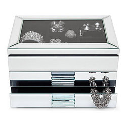 Z Gallerie - Hudson Jewelry Box - Large - Our unique Hudson jewelry box glamorously holds your gems in high style while displaying your most outstanding pieces through a clear glass top. The box is constructed of bright beveled mirrored glass, with two drawers that open with clear glass rectangular knobs. The lift-up top has seven ring slots and two large compartments. Its all lined in luxurious Black velvet to provide a dramatic backdrop to your most stunning pieces. Measures 10 wide by 7.25 deep by 6.5 high.