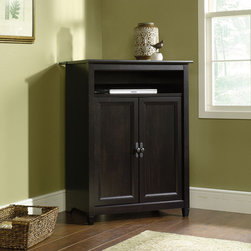 Sauder - Edge Water Mobile Lifestyle Center Cabinet - The clean lines of the Edge Water Collection bring a new spin to cottage style. In keeping with the relaxed sophistication of the collection, each piece is detailed with solid wood sculpted tapered feet, distinctive kick rails, elegant dark Spanish hardware and shapely soft framed doors and drawers. Finished in an elegant Estate Black finish with a warm gold undertone, and designed with a great attention to modern function and storage, Edge Water creates a relaxed oasis that still serves today's mobile technology lifestyle. Features: -Center cabinet.-Removable laptop shelf with cushioned pad for mobility.-Flip-up panel reveals digital dock for parking, recharging and synching mobile electronics.-Slide out printer shelf with metal runners and safety stops.-Convenient cord management.-Estate black finish.-Solid wood accents.-Edge Water collection.-Shelf behind cabinet pulls out; removable laptop shelf.-Collection: Edge Water.-Distressed: No.-Country of Manufacture: United States.-Product Type: Edgewater Mobile Lifestyle Center.-Style: Cottage.-Top Finish: Estate Black.-Base Finish: Estate Black.-Mirrored Finish: No.-Hardware Finish: Metal.-Powder Coated Finish: No.-Gloss Finish: No.-Base Material: Engineered Wood.-Hardware Material: Nickel.-Solid Wood Construction: No.-Reclaimed Wood: No.-Non Toxic: Yes.-Water Resistant: No.-Scratch Resistant: Yes.-Stain Resistant: Yes.-Hand Painted: No.-Shape: Rectangular.-Lift Top: No.-Finished Back: No.-Wall Mountable: No.-Stackable: No.-Outdoor Use: No.-Inlay: No.-Feet/Legs Included: Yes -Foot/Leg Material Details: Wood..-Exterior Shelves : No.-Drawers Included: No.-Cabinets Included: Yes -Number of Cabinets: 1.-Number of Doors: 2.-Door Material: Wood.-Cabinet Handle Design: Knobs.-Number of Interior Shelves: 1.-Adjustable Interior Shelves: No..-Commercial Use: No.-Recycled Content: No.-Eco-Friendly: Yes.-Product Care: Wipe with damp cloth.Specifications: -CARB Compliant: Yes.-