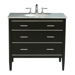 "Stufurhome - 36"" Whitney Single Sink Vanity in Black Finish with Italian Carrara White Marble - The ideal choice for a contemporary home, the 36"" Whitney Single Sink Vanity is striking with its clean lines and fresh, simplistic design. The ebony-finish, solid-wood vanity provides a crisp and bold contrast with the Italian Carrara white marble top. Sleek aluminum hardware adorns the unit. Dimensions: 36 in. x 22 in."