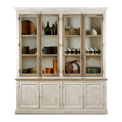 Kathy Kuo Home - Portes Antique French Country 4 Door White Pine Cabinet Curio - Salvaged from French chateaus, these unique windows and doors set the scene for one-of-a-kind cabinetry and storage. Each handcrafted piece has twelve ample shelves behind glass and four lower cabinets behind pine doors.