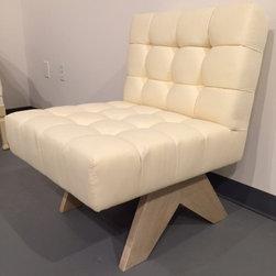 Deep box tufted slipper chair pickled base -