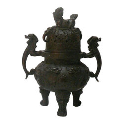 """Golden Lotus - Chinese Rustic Metal Relief Motif Round Incense Ding - Dimensions:   8"""" x 6""""x  h10.5"""""""
