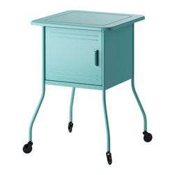 Vettre Nightstand, Turquoise | IKEA - This adorable locker-style nightstand is so fun, especially for a kid's room. It could even class up a dorm room too!
