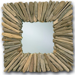 Currey & Company - Currey & Company Square Beachhead Mirror CC-1030 - A beautifully crafted mirror. The natural driftwood evokes an earthy tone and feel. The colors and hues of driftwood may vary from mirror to mirror. This rustic addition to a room looks fantastic in sets or multiples on a wall.