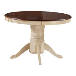 Monarch Specialties - Monarch Specialties 48x48 Dining Table in Antique White - Finished in a walnut veneer, this traditional pedestal table will create the perfect look for intimate dinners or casual get togethers. The round shaped piece features curved edges, turn post legs, and is brushed in an antique white color. This table has a simple yet stylish look that can blend into any decor. What's included: Dining Table (1).