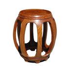 Golden Lotus - Chinese Solid Wood Huali Barrel Round Stool - This is a nice traditional Chinese style round barrel shape stool with charm natural wood pattern and color from the rosewood. ( variation in wood pattern )