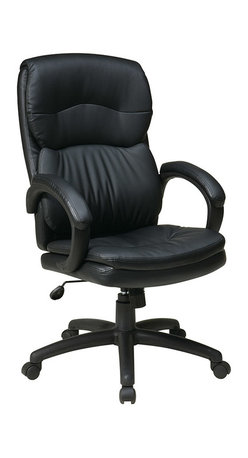 Office Star - Work Smart EC Series High Back Black Eco Leather Executive Chair w/ Padded Arms - High Back Black Eco Leather Executive Chair with Padded Arms. One Touch Pneumatic Seat Height Adjustment. 360° Swivel Seat. Locking Tilt Control with Adjustable Tilt Tension. Padded Loop Arms.